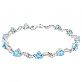Sterling Silver 5mm Heart Shape Aquamarine Bracelets in 7Inch.