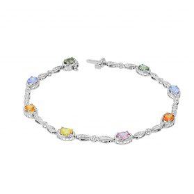 Multicolor Sapphire Diamond Bracelet