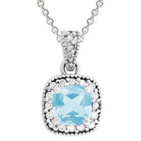 Aquamarin Diamond Pendant